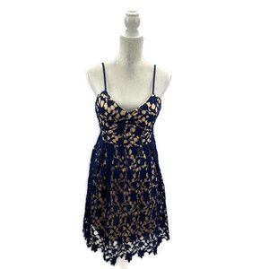 Dina Be Party Dress Floral Lace Overlay Size L